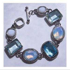"Swarovski Bracelet Blue Crystals Silver Tone 8"""